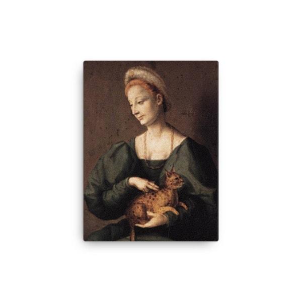 Francesco Bacchiacca: Woman with a Cat, 1540's canvas cat art print, 12×16