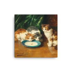 Alfred Brunel de Neuville: What's that then?, Before 1941, Canvas Cat Art Print, 12x12