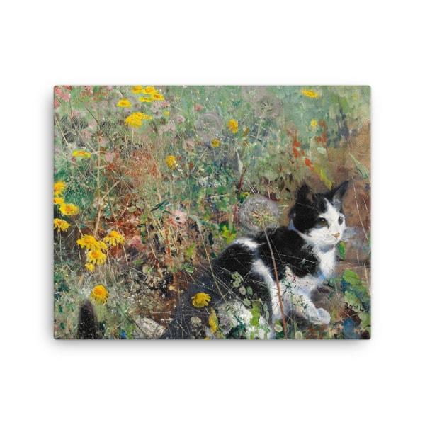 Bruno Liljefors: Cat in the Flowerbed, 1887, Canvas Cat Art Print, 16×20