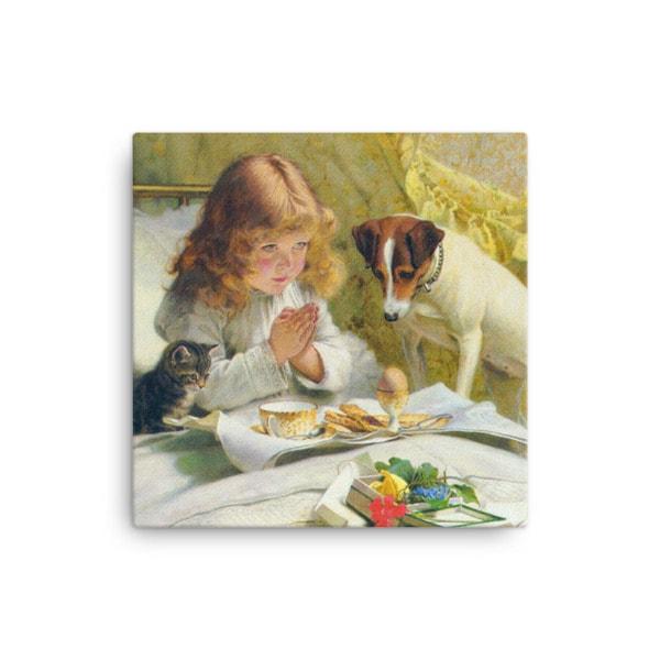 Charles Burton-Barber: Suspense, 1894, Canvas Cat Art Print, 16×16