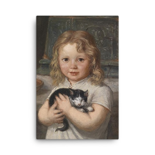 Georg Teibler: Girl with Kitten, Before 1911, Canvas Cat Art Print, 24×36