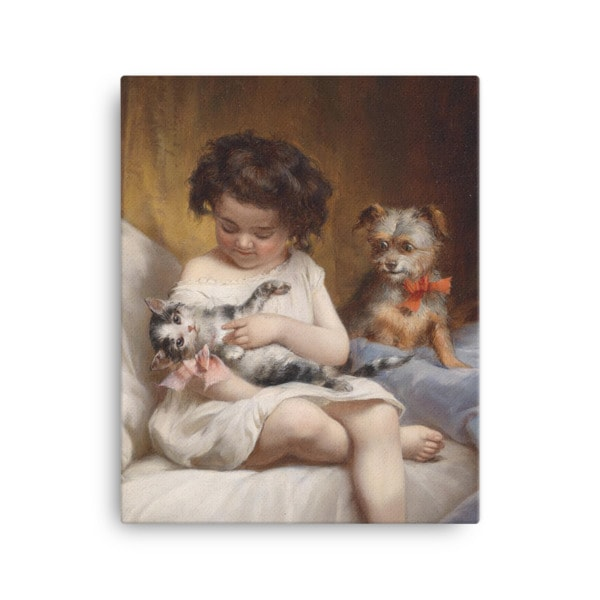 Carl Reichert: Little Girl Playing with Kitten, 1886, Canvas Cat Art Print, 16×20