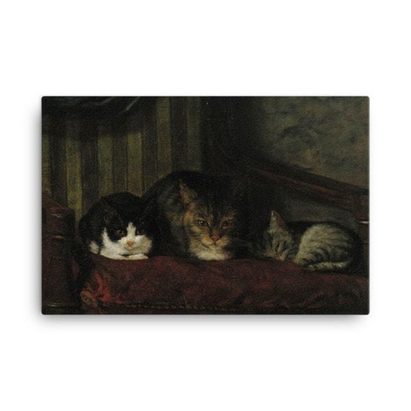 Adolf Von Becker: Cats in a Chair, 1863, Canvas Cat Art Print, 24×36