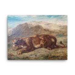 Eugene Delacroix: Lion Stalking, 1863, Canvas Cat Art Print