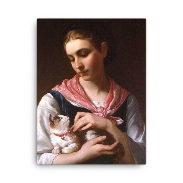 Emile Munier: The Favourite Kitten, 1874, Canvas Cat Art Print, 18×24