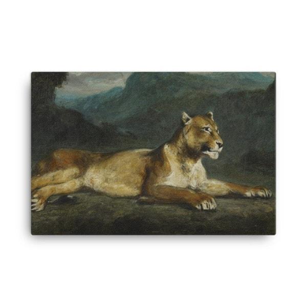 Eugene Delacroix: Lioness Reclining, 1855, Canvas Cat Art Print, 24×36