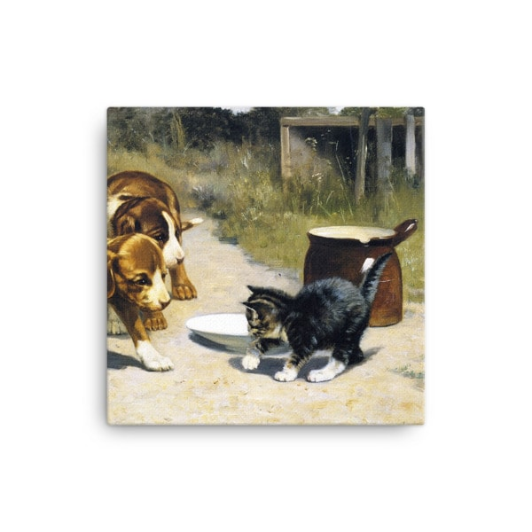 John Henry Dolph: Courage, 19th Century, Canvas Cat Art Print, 12×12