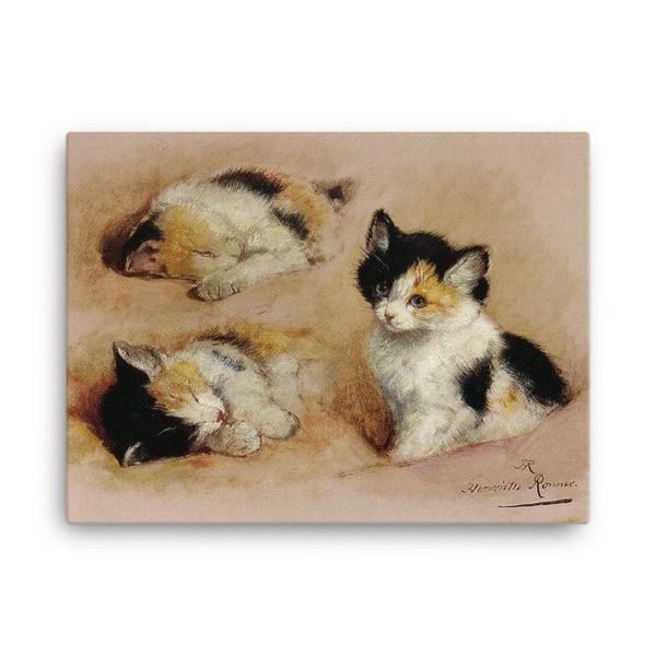 Henriette Ronner-Knip: Study of a Sleeping Kitten, Canvas Cat Art Print, 18×24