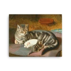 Horatio Henry Couldery: The Unexpected Guest, 1894, Canvas Cat Art Print