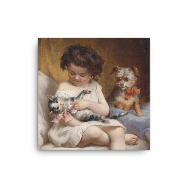 Carl Reichert: Little Girl Playing with Kitten, 1886, Canvas Cat Art Print, 16×16