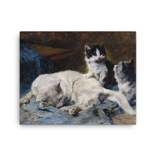 Julius Adam: Katzenmutter mit Zwei Katzchen, 1913, Canvas Cat Art Print, 18×24