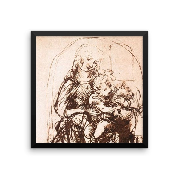 Leonardo da Vinci: Study of the Madonna and Child with a Cat, 1478, Framed Cat Art Poster, 12×12
