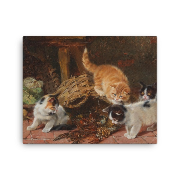 Julius Adam: Kittens and a Lobster, Before 1913, Canvas Cat Art Print, 16×20