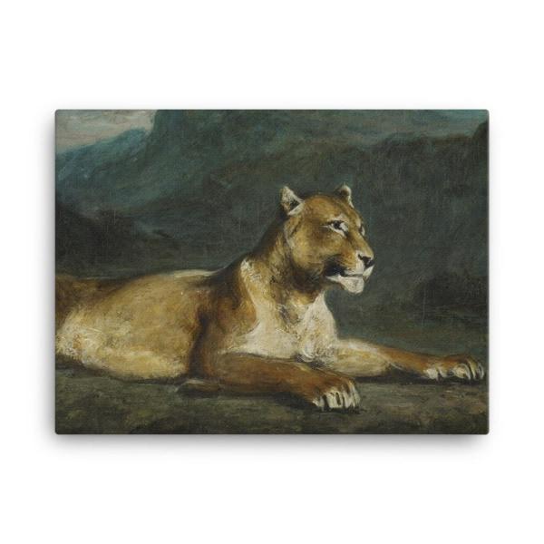 Eugene Delacroix: Lioness Reclining, 1855, Canvas Cat Art Print, 18×24