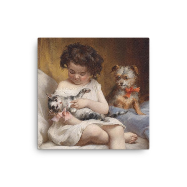 Carl Reichert: Little Girl Playing with Kitten, 1886, Canvas Cat Art Print, 12×12