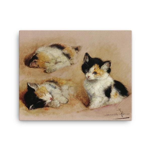 Henriette Ronner-Knip: Study of a Sleeping Kitten, Canvas Cat Art Print, 16×20