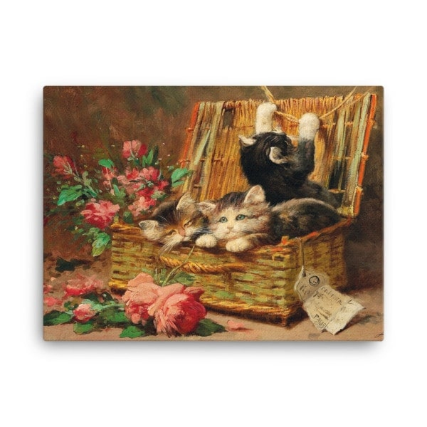 Leon Charles Huber: A Basket of Cats, Before 1928, Canvas Cat Art Print, 24×36