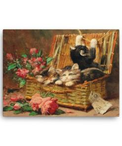 Leon Charles Huber: A Basket of Cats, Before 1928, Canvas Cat Art Print