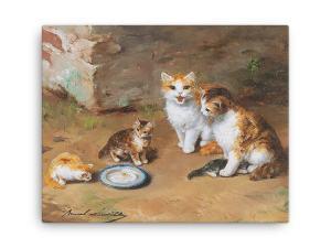 Alfred Brunel de Neuville: Cat Family, Before 1941, Canvas Cat Art Print, 16x20