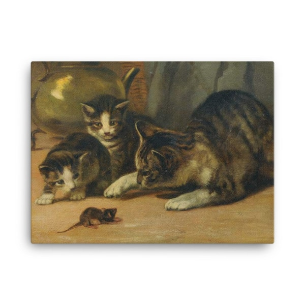 John Henry Dolph: Playing Cat and Mouse, 19th Century, Canvas Cat Art Print, 18×24