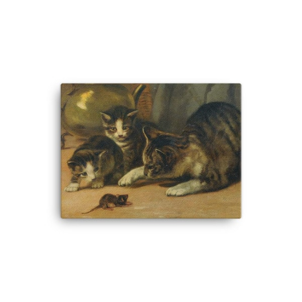 John Henry Dolph: Playing Cat and Mouse, 19th Century, Canvas Cat Art Print, 12×16