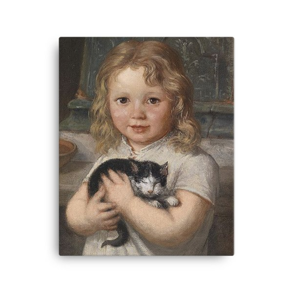 Georg Teibler: Girl with Kitten, Before 1911, Canvas Cat Art Print, 16×20