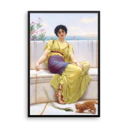 John William Godward: Idleness, 1900, Framed Cat Art Poster