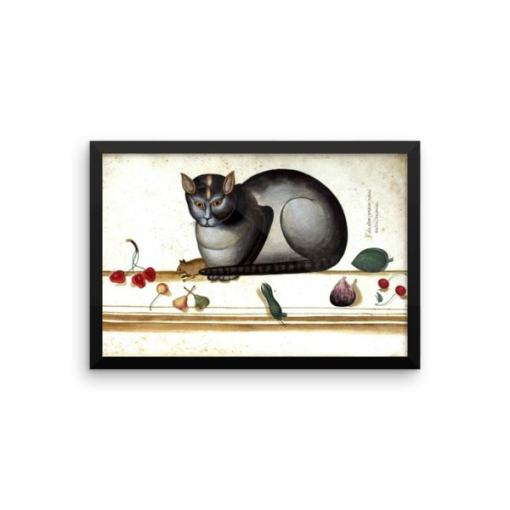 Ulisse Aldrovandi: Cat on a Ledge with Mouse and Fruit from The Great Cat Store