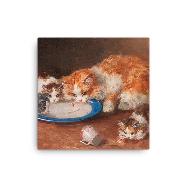 Alfred Brunel de Neuville: Mother Cat with Three Kittens, 19th C, Canvas Cat Art Print, 12×12