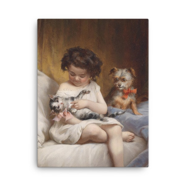 Carl Reichert: Little Girl Playing with Kitten, 1886, Canvas Cat Art Print, 18×24