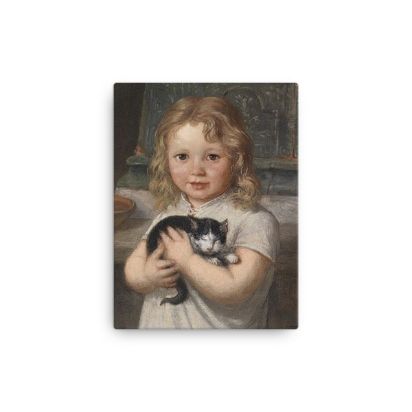 Georg Teibler: Girl with Kitten, Before 1911, Canvas Cat Art Print, 12×16
