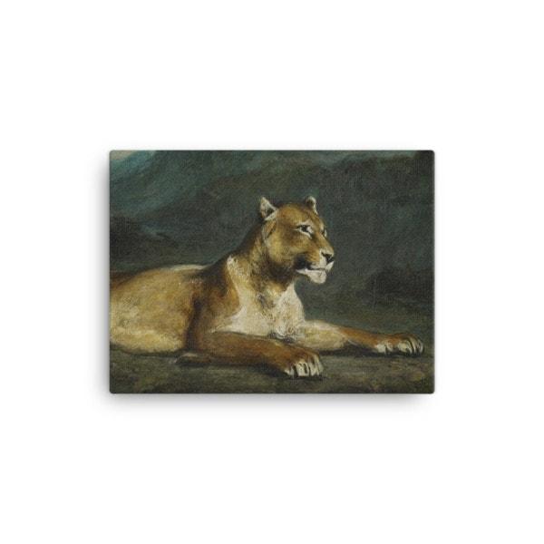 Eugene Delacroix: Lioness Reclining, 1855, Canvas Cat Art Print, 12×16