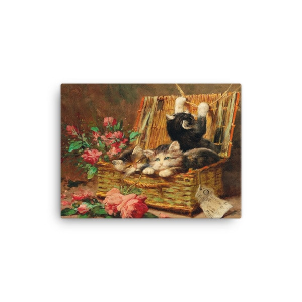 Leon Charles Huber: A Basket of Cats, Before 1928, Canvas Cat Art Print, 12×16