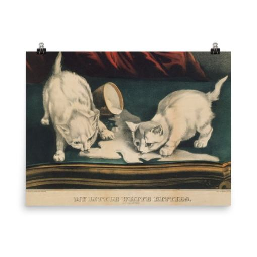 Currier and Ives: My Little White Kitties in Mischief, 1871, Cat Art Poster