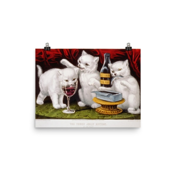 Currier and Ives: Three Jolly Kittens, 1871, Cat Art Poster, 12×16