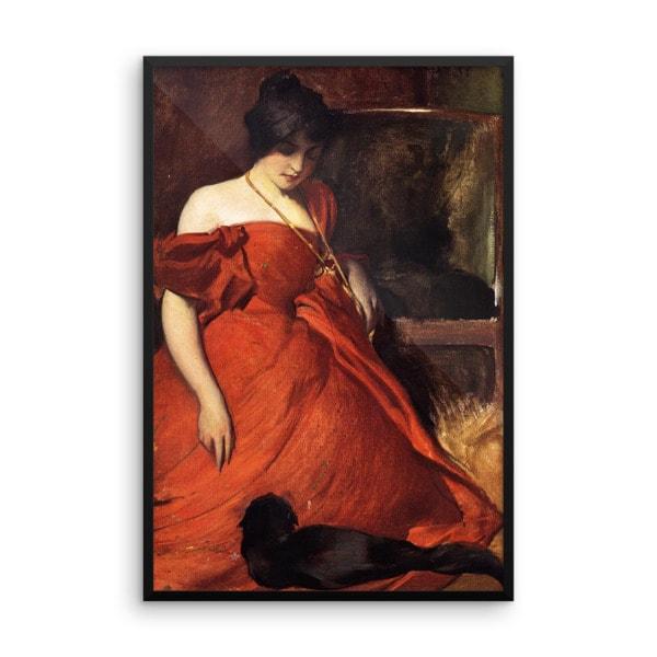 John White Alexander: Black and Red, 19th Century, Framed Cat Art Poster, 18×24