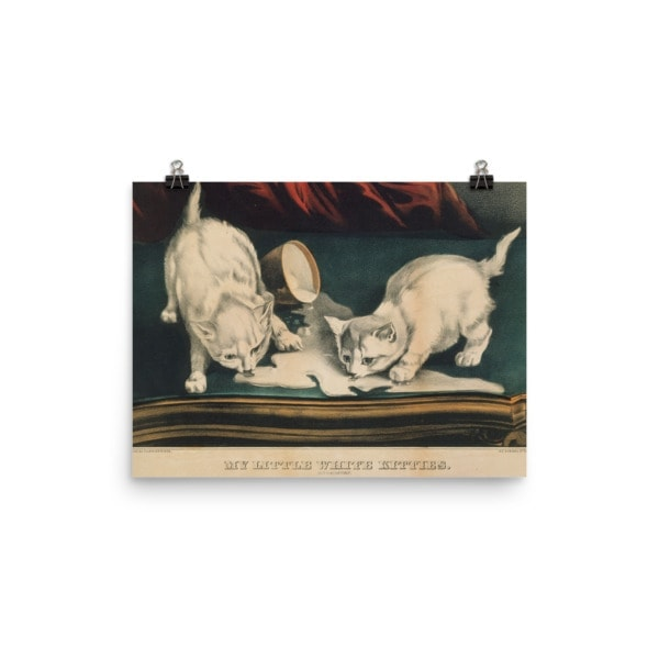 Currier and Ives: My Little White Kitties in Mischief, 1871, Cat Art Poster, 12×16