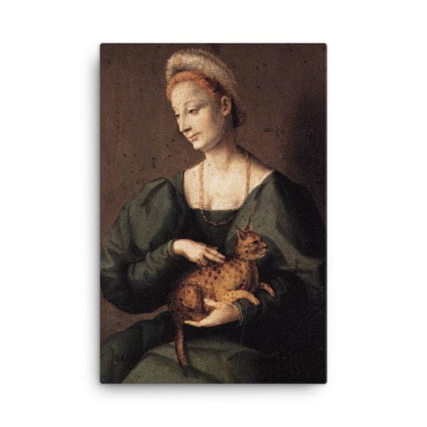 Francesco Bacchiacca: Woman with a Cat, 1540's canvas cat art print, 18×36