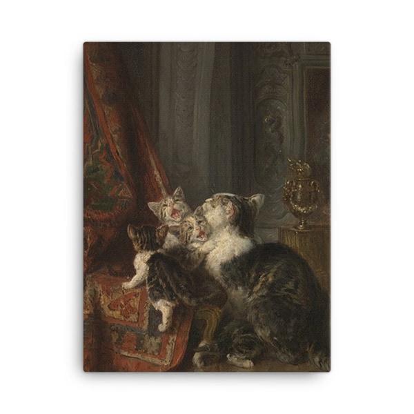 Louis Eugene Lambert: Mother Cat and Kittens, 19th century, Canvas Cat Art Print, 18×24