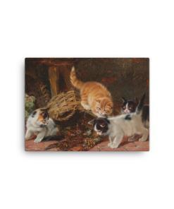Julius Adam: Kittens and a Lobster, Before 1913, Canvas Cat Art Print