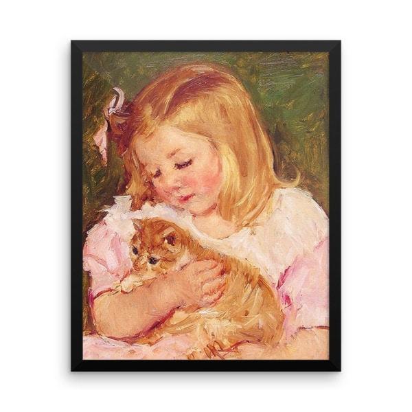 Mary Cassatt: Sara Holding a Cat, 1908, Framed Cat Art Poster, 16×20