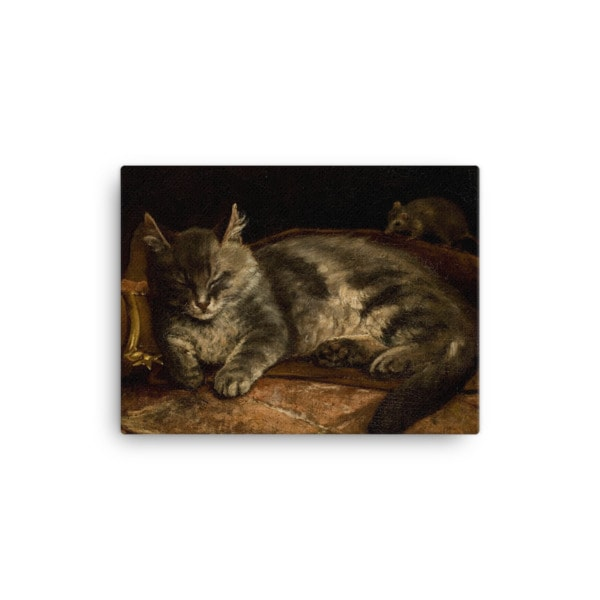 Adolf Von Becker: Sleeping Cat, 1864, Canvas Cat Art Print, 12×16