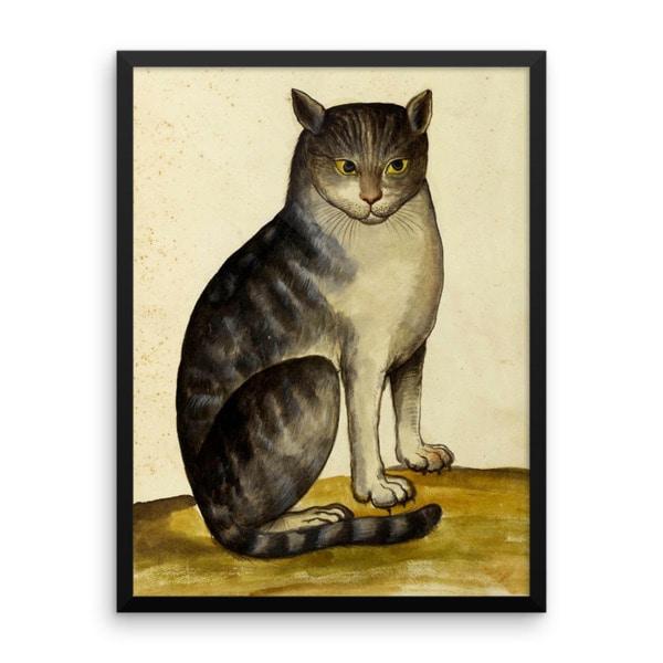 Ulisse Aldrovandi: Seated Cat, 16th Century, Framed Cat Art Poster, 24×36