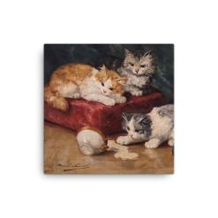 Alfred Brunel de Neuville: Les Chats, Before 1941, Canvas Cat Art Print, 12x12
