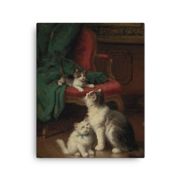 Leon Charles Huber: Mother Cat and Kittens, Before 1928, Canvas Cat Art Print, 16×20