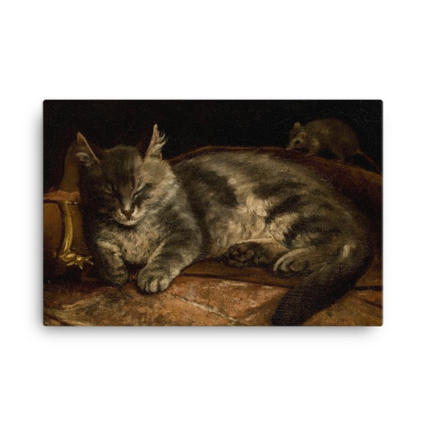 Adolf Von Becker: Sleeping Cat, 1864, Canvas Cat Art Print, 24×36