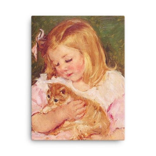 Mary Cassatt Cat Art Print at The Great Cat Store, Mary Cassatt Cat Art, Girls and Cats-Kittens