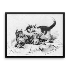 German Illustration of Kittens, 1891, Framed Cat Art Poster