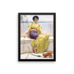 John William Godward: Idleness, 1900, Framed Cat Art Poster
