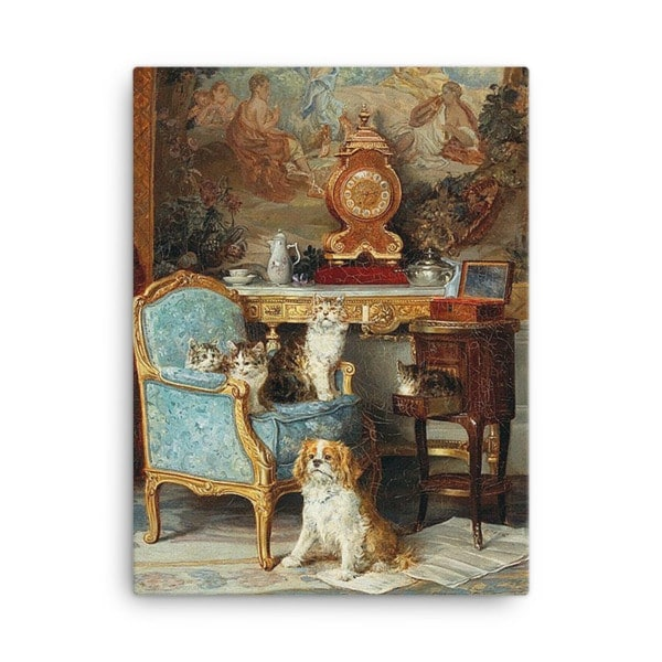 Louis Eugene Lambert: Family of Cats and Dog in the Salon, 1893, Canvas Cat Art Print, 24×36